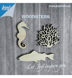 houten figuren: zeepaard-koraal-vis