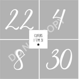 Cijfers 1 t/m 31 - 4,9x4,9 cm GIRLS