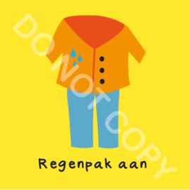 Regenpak aan (O)