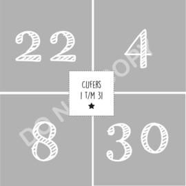 Cijfers 1 t/m 31 - 4,9x4,9 cm STRIPED