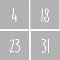 Cijfers 1 t/m 31 - Dagen v/d maand NR1