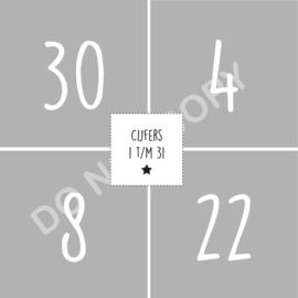 Cijfers 1 t/m 31 - 4,9x4,9 cm WRITTEN