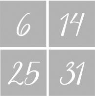 Cijfers 1 t/m 31 - Dagen v/d maand NR2