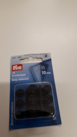 Aannaaibare drukknopen zwart plastic  10mm