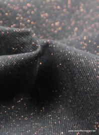 Boordstof zwart met koper glitters