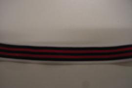 Elastiek gestreept rood 20 cm