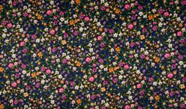 Katoenlycra satin bloem