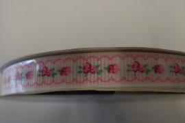 Ribslint 9mm bloemetjes roze