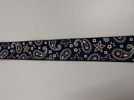 Ribslint paisley 25mm, marineblauw