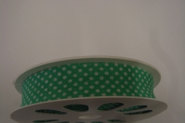 Biais groen met witte bolletjes - 20 mm