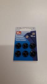Aannaaibare drukknopen zwart metaal 15 mm