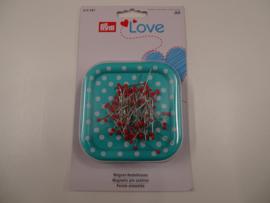 Magnetisch speldenkussen LOVE met 9 gr kopspelden