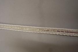 Bandje katoen grijs bling, 7 mm breed
