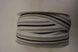 Elastiek gestreept grijs marine 20 mm