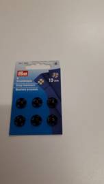 Aannaaibare drukknopen zwart metaal 13 mm