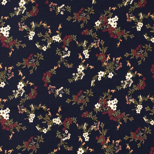 Viscose navy flowers