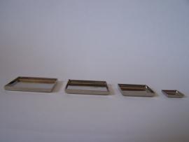 Zilverkleurig vierkant met gladde rand