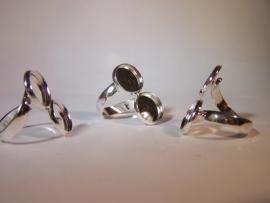 Dubbele zilverkleurige ring (12mm)