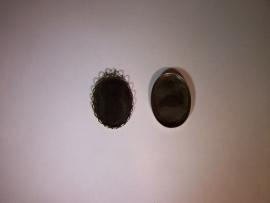 Verouderd zilver, ovaal 25x18mm