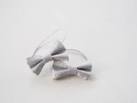 Setje glitter elastiekjes zilver
