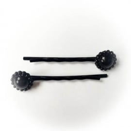 Zwarte schuif speldjes met zwart pareltje