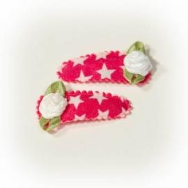 Babyhaarclipje fuchsia roze met witte ster