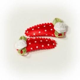 Babyhaarclipje 3cm rood met witte stip