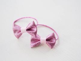 Setje glitter elastiekjes roze