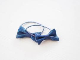 Setje glitter elastiekjes donkerblauw