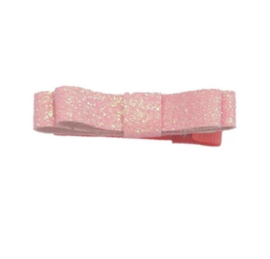 Alligatorclip met roze glitterstrikje
