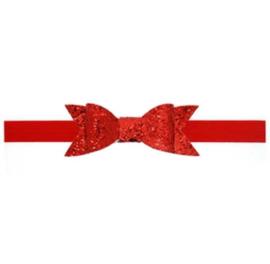 Haarband met grote rode glitterstrik