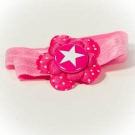 Haarband met fuchsia ster button