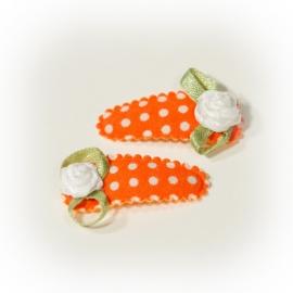 Baby haarclipje oranje met witte stippen