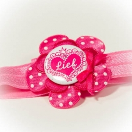 """lief"" button met fuchsia roze bloem"