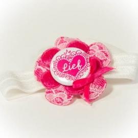 """""""lief"""" button met Fuchsia roze bloem met wit kant"""