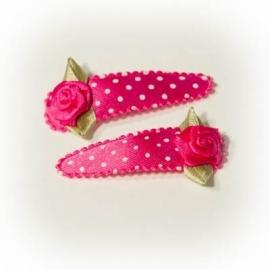 Fuchsia roze met witte stip