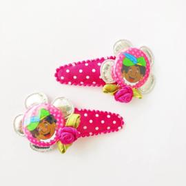 Roze clips met pietje (let op: als setje!)