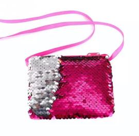 Hot pink en zilver pailletjes