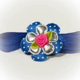 Royal blue met fuchsia roze roosje