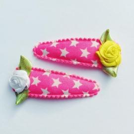 Neon roze met witte ster