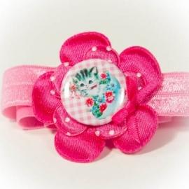 """Roze """"poesje"""" button fuchsia bloem"""