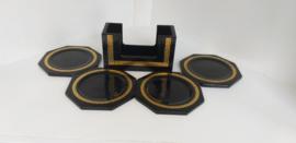 4 st zwart/goud onderzetters met houder