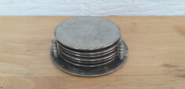 Set 6 st vintage onderzetters met rekje