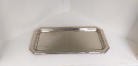 Verzilverd serveer/onderbord met glazen schijf