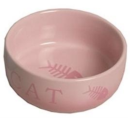 VOERBAK kat steen roze / vis