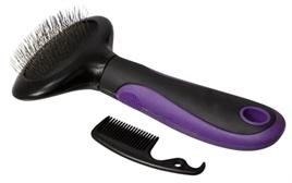 ADORI slickerborstel kat softgrip zwart / paars 8,5X17,5 CM
