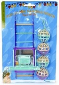 HAPPY pet bird toy mp bal / ladder / perch 22X10X4 CM