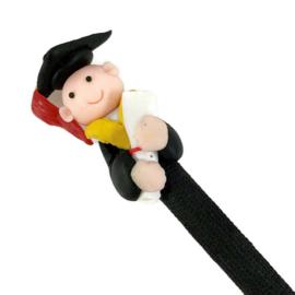 Grappige figuurpen voor diplomering en afstuderen heer - zwart