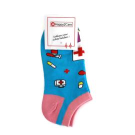 H2C zorg ENKEL sokken Ambulance Aqua