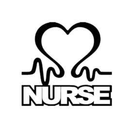 STICKER NURSE HART ZWART